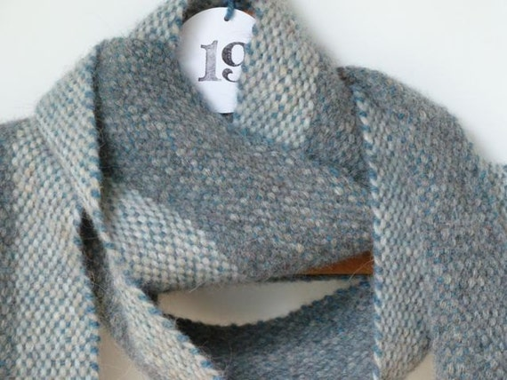 Gray and Teal Scarf for Men and Women, Free Shipping