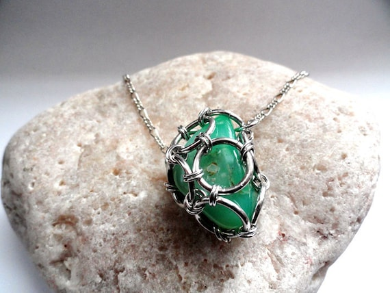 Chrysoprase Chainmail Necklace. Green Stone Cage Necklace.