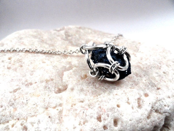 Raw Drusy Azurite. Druzy Chainmail Cage Necklace. Raw Cluster Pendant.