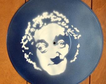 Marty Feldman Stencil Record Art : White / Metallic Blue