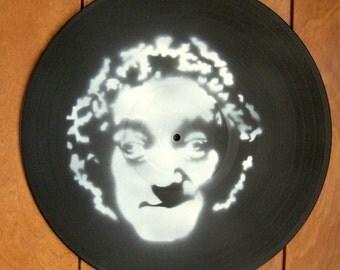 Marty Feldman Stencil Record Art : White / Flat Black
