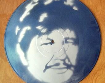 Charles Bronson Stencil Record Art : Silver / Metallic Blue