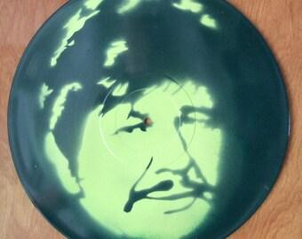 Charles Bronson Stencil Record Art : Lime Green / Green