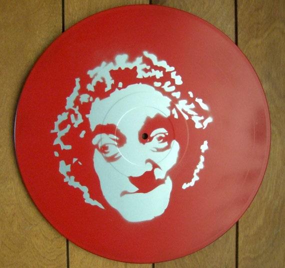 Marty Feldman Stencil Record Art : Silver / Red