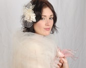 Bridal Flower Headpiece, Floral Birdcage Fascinator, Wedding Hair Accessory, Ivory Wedding Hair Piece, VelvetTeacup