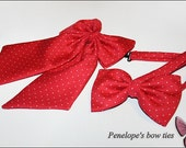 Red bow ties set for couple, polka dot cotton
