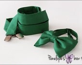 Set of Green Suspenders and Bow Tie for Him