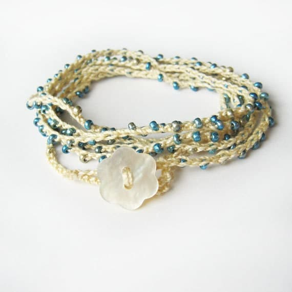 Blue and cream Crochet wrap bracelet - beaded and delicate