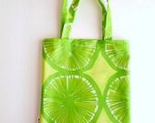 Marimekko Shopping Bag - Oil Cloth - Lime Green Yellow