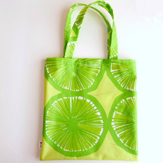 Marimekko Shopping Bag - Oil Cloth - Lime Green Yellow