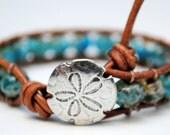 Beach Chic Sea Blue Beaded Leather Wrap Bracelet With Sand Dollar Button Surf Chic, Summer, Bohemain, Ocean Blue