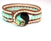 Bohemian Mint Green Triple Row Leather Cuff Bracelet with Abalone Shell Button Aqua Green Seafom Green, Sage Green, Summer Jewelry, Boho
