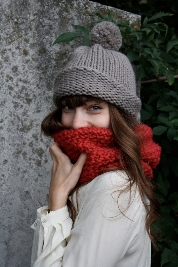 handmade mohair wool infinity scarf in lipstick red