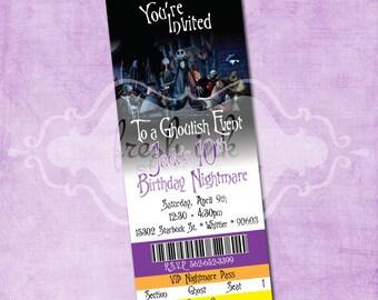 Nightmare Before Christmas Ticket Birthday Invitation