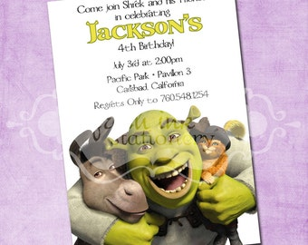 Shrek and Friends Birthday Invitation