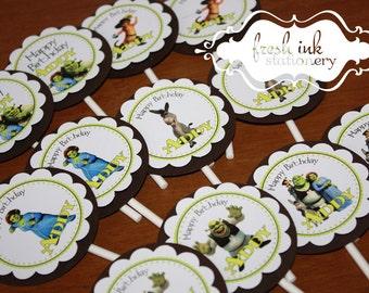 Shrek Personalized Cupcake Tops