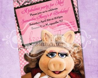 Miss Piggy Birthday Invitation