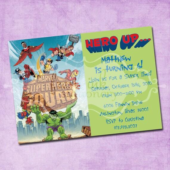 Super Hero Squad Birthday Invitation