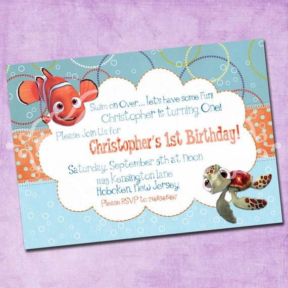 Items similar to finding nemo birthday invitation on etsy for Nemo cake template