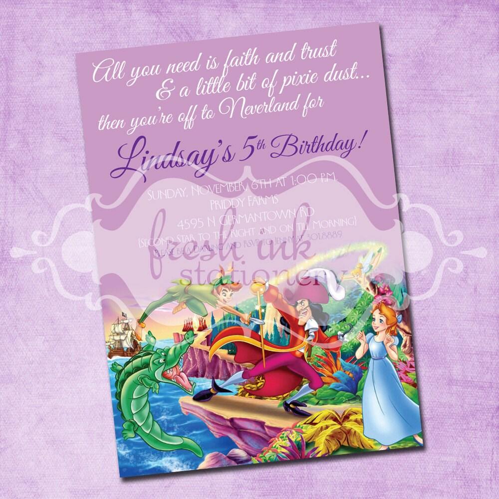 Peter pan birthday invitation for Peter pan invitation template