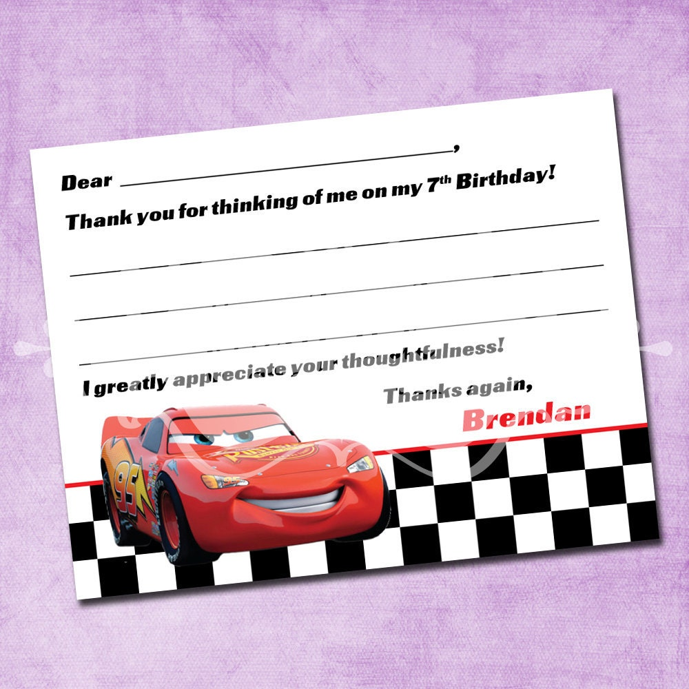 cars lightning mcqueen thank you card 🔎zoom