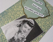 Retro Vintage Bride Card - 4x6 Original Handmade Postcard Sized Print