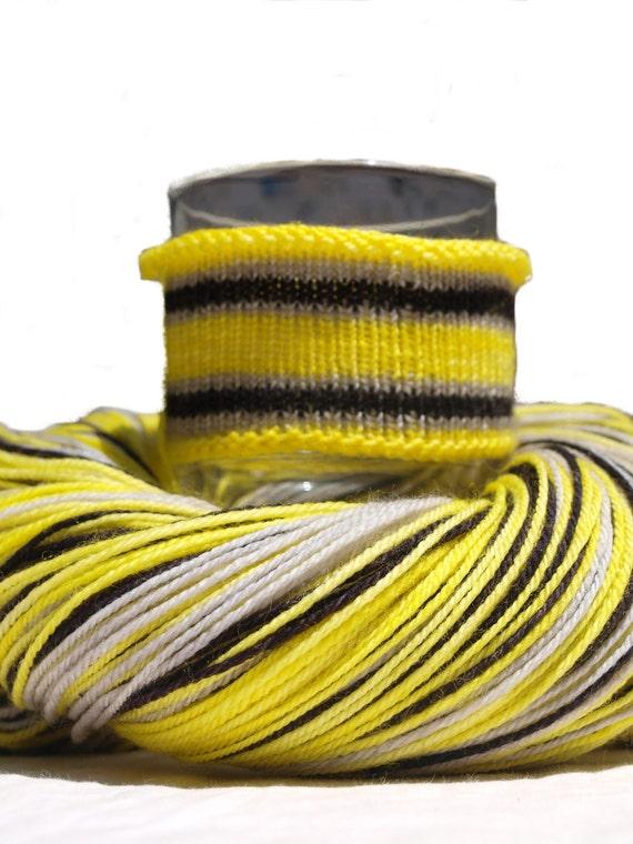 Black and Yellow Self Striping Hand Dyed Yarn, 100% SW Merino Fingering/Sock Yarn