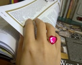Venus - Brilliant Pink Heart On Silver Ring