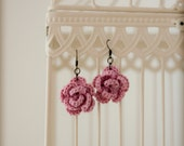 flower earrings on bronze plated hooks