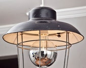 Salvaged Black Industrial Light with Cage
