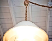 White Industrial Light on Rope Cord
