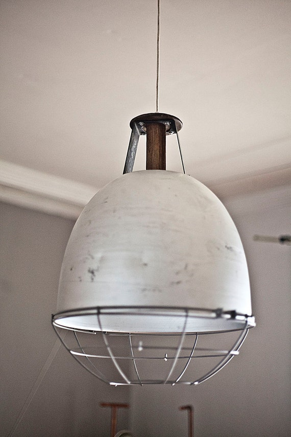 Salvaged Dock Light with Cage and Vintage Industrial Spool
