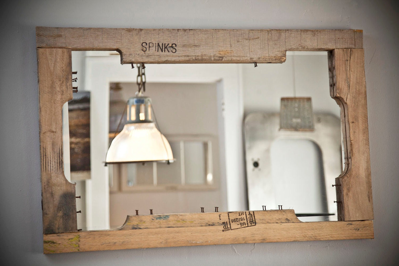 Oak pallet mirror for Espejos largos
