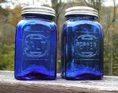 Salt and Pepper Shakers. Cobalt Blue. Vintage