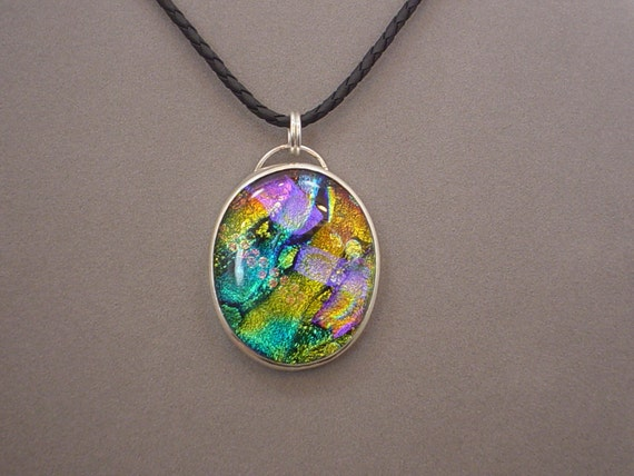 Large Dichroic Glass Art Pendant One of a Kind Sterling and Fine Silver
