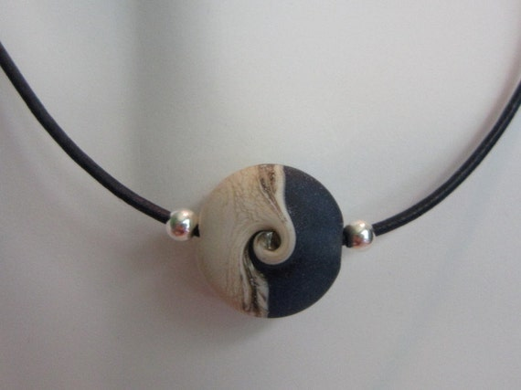 Men's Pacific Blue Wave Lampwork Sterling Silver Black Leather Cord Necklace