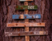 Joy To the World Rustic Christmas Tree Pallet Art