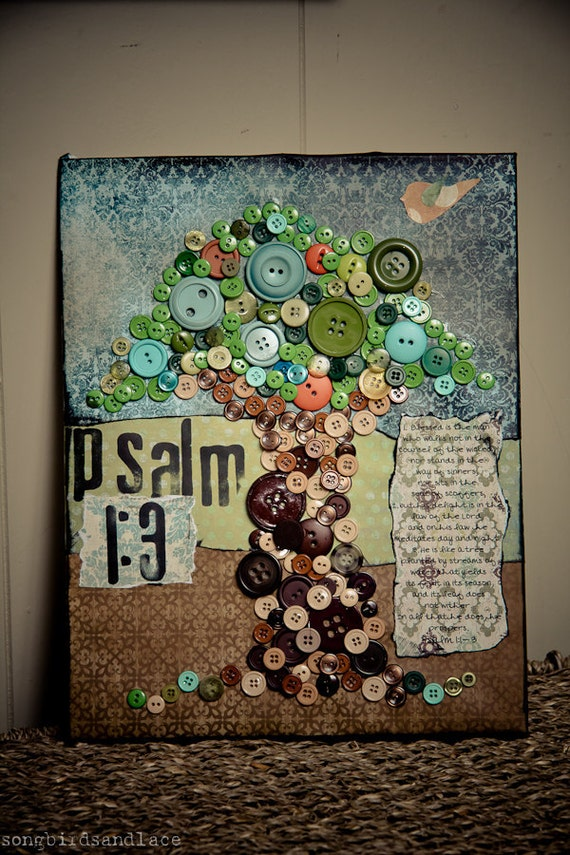 Psalm 1:3- Mixed media Button Tree