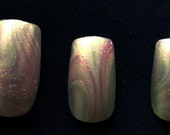 Nail Art Water Marble  Pink Purple White Pastel Subtle Abstract Wedding Summer OOAK Introductory Offer Sale