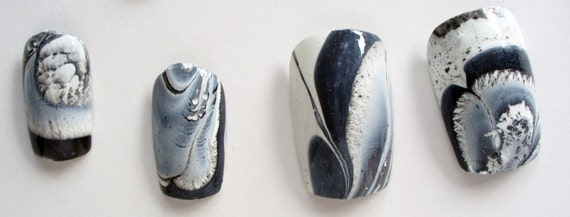 Bold Black And White Abstract Water Marble Nail Art Unique OOAK Spring Summer INTRODUCTORY offer SALE