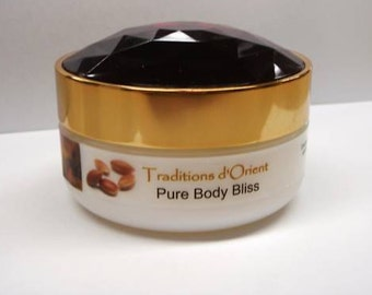 PURE BODY BLISS Argan Oil and Shea Body Butter -125ml - with Moroccan Rose, Dry Skin Treatment