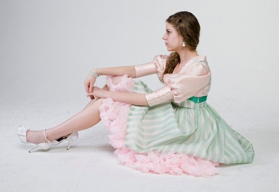 Pink and Mint Green Empire Waist Dress & Blouse, Sweet Lolita Inspired, with Stripes and Polka Dots