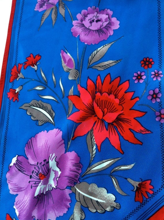 Vintage 1970s VERA NEUMANN Floral Scarf with Purple, Blue, Red Colours