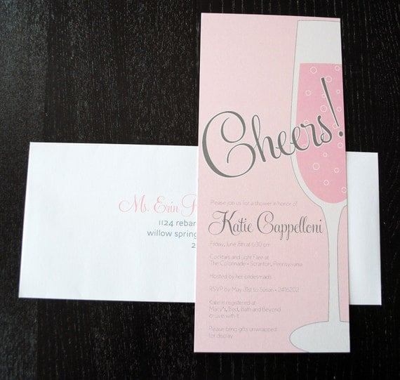 Shimmer Pink Champagne Party Invitations - set of 25