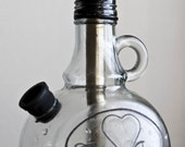 Custom Engraved Hookah - Solid Glass Jug with Brass down stem