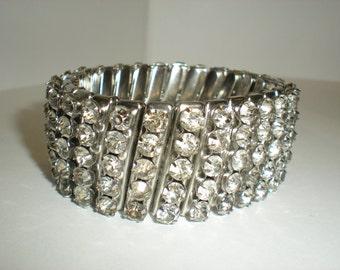 Vintage Rhinestone Crystal Cuff