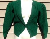 Bottle Green Vintage Wool Cardigan Sweater with Mutton Sleeves and Embossed Buttons