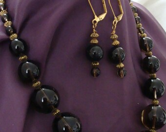 Must see Genuine Smokey Quartz necklace and earrings. A one of a kind, original creation - never to be duplicates