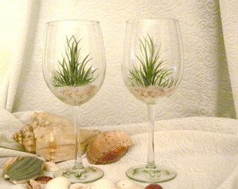 Beach grass wine glasses hand painted