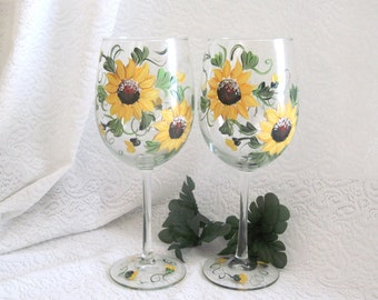 Free shipping Sunflower hand painted pair of wine glasses